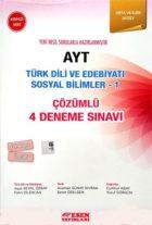 Esen Yayınları AYT Türk Dili ve Edebiyatı Sosyal Bilimler 1 Çözümlü 4 Deneme Sınavı Kırmızı Seri