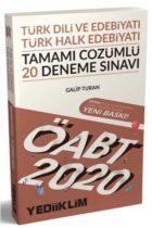 Yediiklim Yayınları 2020 ÖABT Türk Dili ve Edebiyatı Türk Halk Edebiyatı Tamamı Çözümlü 20 Deneme Sınavı