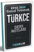 Yediiklim Yayınları 2020 KPSS Genel Yetenek Türkçe Ders Notları
